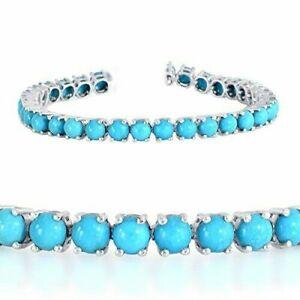 "925 Sterling Silver 18.Ct Sleeping Beauty Turquoise Tennis Bracelet 7.5"""