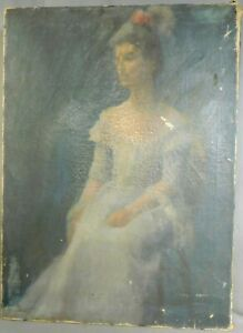 Antique Painting Portrait Pretty Lady White Dress Kathryn Leone Wood  AsIs DIRTY