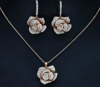 18K Rose Gold GP Flower Pendant Necklace Earrings Set made w Swarovski Crystal