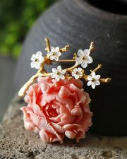 Hand Crafted Pressed Coral Peony Flower Pendant & Brooch with Mother of Pearl