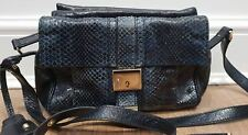 D&G DOLCE & GABBANA Blue Grey Snakeskin Texture & Black Leather Shoulder Bag