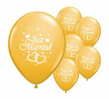 "10 JUST MARRIED GOLD 12"" HELIUM QUALITY PEARLISED WEDDING BALLOONS"