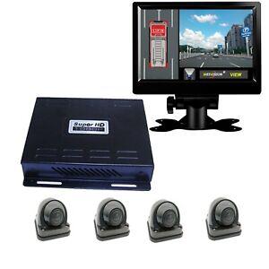 HD 1080P 360°Bird View System  4-Camera DVR For Truck Bus Van  +9'' Display