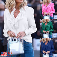 Womens Ladies Ruffled Frill V Neck T Shirt Long Sleeve Plain Blouse Loose Tops