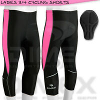 New Ladies Cycling Shorts Three Quarter 3/4 Legging Coolmax Paded Size: M,L,XL