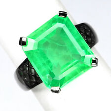 EMERALD GREEN OCTAGON 11.60 CT. 925 STERLING SILVER BLACK RING SZ 6.25 JEWELRY
