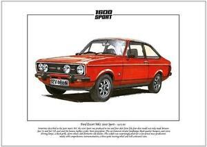 FORD ESCORT Mk2 1600 Sport - Fine Art Print A4 size - From 1975-80  Kent engine