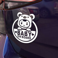 """Baby In Car """"Baby on Board"""" Safety Sign Cute Car Decal / Vinyl Sticker White"""