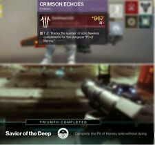 Destiny 2 Pit of Heresy solo flawless for Crimson Echoes emblem on PS4/Xbox1/PC.
