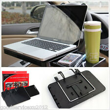 Portable Black Car Steering Wheel Laptop Table Mount Holder Tray Kit With Drawer
