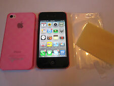 Pink TPU Checkered KLOGI iphone 4 4G 4S & Screen Guard, Microfibre Cloth& Case
