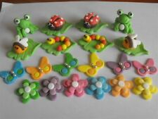 Garden Cupcake Toppers Set Frogs Ladybugs Bees etc