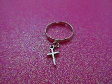 Adjustable Cross Charm Dangle Ring