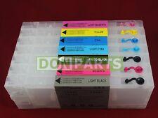 Reseteador de chip + 7x 300ml Cartucho de tinta recargables para Epson Stylus PRO 7600 9600