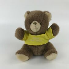 "1986 Applause Teddy Bear Plush Stuffed Animal Bless This Baby Shirt Brown 9"" H"