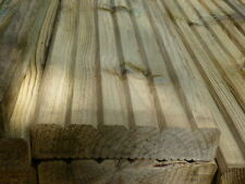 Treated Timber Garden Decking Boards 32mmx144mm x 4.2 metre Grooved Both Sides