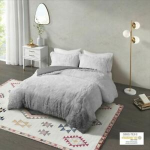 Luxury Grey Ombre Shaggy Faux Fur Comforter AND Decorative Shams