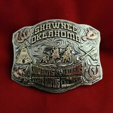 New ListingRodeo Trophy Buckle☆☆Shawnee Oklahoma Team Roping Champion Vintage 684