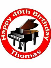 """7.5"""" PIANO KEYBOARD MUSICAL INSTRUMENT CAKE TOPPERS PERSONALISED ON RICE PAPER"""