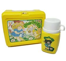 VINTAGE 1980's CABBAGE PATCH YELLOW PLASTIC LUNCH BOX & THERMOS KIDS LUNCH CASE