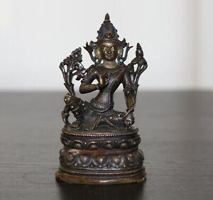 Antique Chinese Tibetan pala revival bronze Buddha, silver inlay, Qing Dynasty.