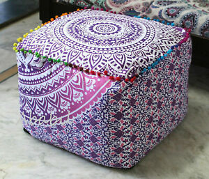 Square Ottoman Pouf Cover Floor Pillow Ombre Room Decorative Covers Cushion