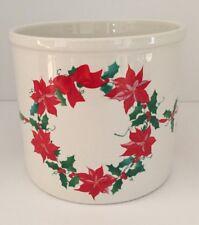 Inarco 1987 Poinsettia Holly Wreath Christmas Utensil Holder Crock Planter