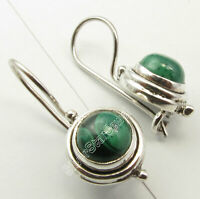 "Solid Sterling Silver Round Malachite Dangle Earrings 0.9"" Wholesale Gift"
