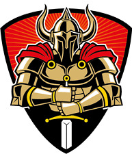 "Warrior With Armor And Sword Mascot Car Bumper Sticker Decal 4"" x 5"""