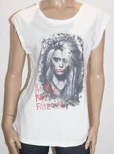 Hot Options Brand White Print Sleeveless T-Shirt Size 14 BNWT #sg42