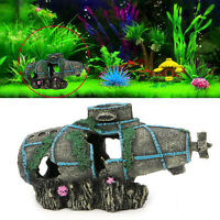 Aquarium Fish Tank Ornament Sunken Submarine Hiding Cave Landscaping Decoration