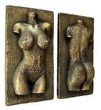 Viking Female Norse Tattoo Covered Nude Erotic Torso Brass Wall Sculpture Decor