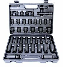 "40PC 1/2"" DR  SHORT & DEEP IMPACT SOCKET SET 9-32MM EXT BAR UNI ADAPTOR TRADE"