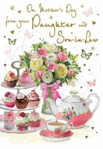 Mother's Day Card - From Daughter & Son in law Afternoon Tea - Glitter - Regal