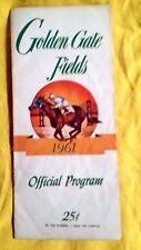 Golden Gate Fields 1961 Albany California Racing Program