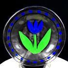 "KOSTA BODA GLASS ULRICA HYDMAN VALLIEN SIGNED BLUE TULIP MOTIF DOTS 7.5"" PLATE"