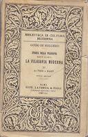 DA VICO A KANT LA FILOSOFIA MODERNA PARTE IV vol.3  di Guido De Ruggiero 1943