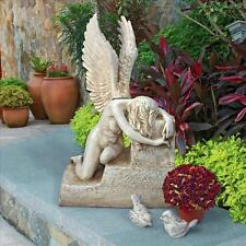 The Grief of Loss Heartbreak Mourning Winged Angel Bows Kneeling Memorial Statue