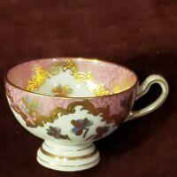 Vintage Austria Footed Demitasse Cup Pink, Blue & Gold