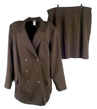 Studio 1940 Women Skirt Suit Plus 26W 2 Pc Pinstripe Double-Breast Brown Stretch
