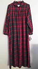 NWT Lanz of Salzburg Nightgown Small Burgundy Plaid 100% Cotton Flannel Pockets