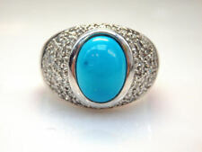 14k White Gold Oval Cut Blue Turquoise 0.54 ct Diamond Accent Ring