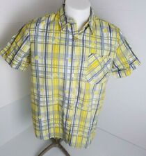 Adrian Delafield Short Sleeve Button Front Floral Plaid Casual Shirt Size L