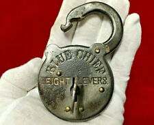 "New ListingRare / Scarce Large ""Blue Chief"" Eight Lever Padlock With Key - Vintage Antique"