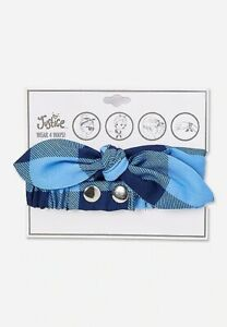 Girl's Justice Blue Check Plaid Headwrap Headband Hair Accessory NEW