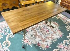 """Repurposed Oak Table Top Upon Iron Legs. Strong & Sturdy. 30""""H x 60""""W x 24""""D"""