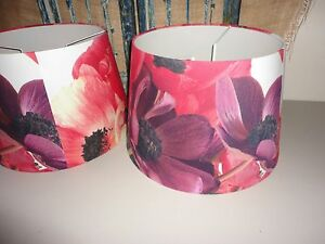 ISAAC MIZRAHI BIG POP FLOWER PINK RED YELLOW POP (PAIR) LAMPSHADES LAMP SHADES