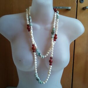 Natural 108 Pearl with some other Jade, Agate Necklace 杂 项链