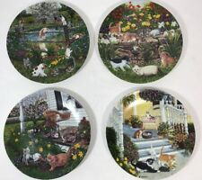 Garden Secrets Higgins Bond Set of 4 Cat Plates Decorative Collection