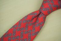 Hermes 7202 UA Cherry Red Steel Scattered Chainlink Silk Tie Made France